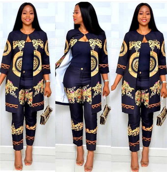 2020 Elegant African Sets Print Trousers Tops Pants Suits Dashiki Dress Bazin Robe Gowns Evening Party Traditional Hipster 1