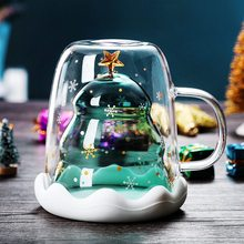 2020 Creative Christmas Mug Glass Christmas Tree Star Cup High Temperature Double Water Cup Party Xmas Gifts Foldable Travel Mug