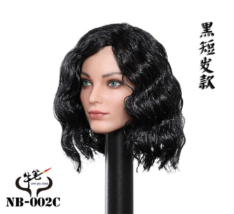 Black Short Hair Emma Polaris Head Sculpt 1/6 Scale Female Soldier Action Figure For 12in Phicen Hottoy Doll
