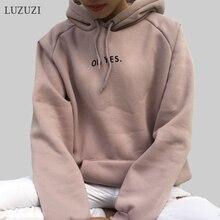 LUZUZI OH YES новые модные толстовки с длинными рукавами и буквенным принтом Harajuku светло-розовые пуловеры с круглым вырезом женские толстовки с капюшоном топы