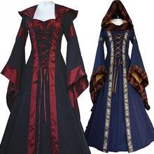 Хэллоуин косплей страшные костюмы вампир ведьма костюм для женщин средневековый Викторианский Маскарад Костюм Черное модное платье макси