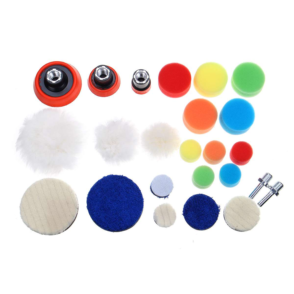 24Pcs/Set Car Polishing Pad 1/2/3 Inch Sponge Buffing Waxing Boat Car Polish Buffer Drill Wheel Polisher Removes Scratches