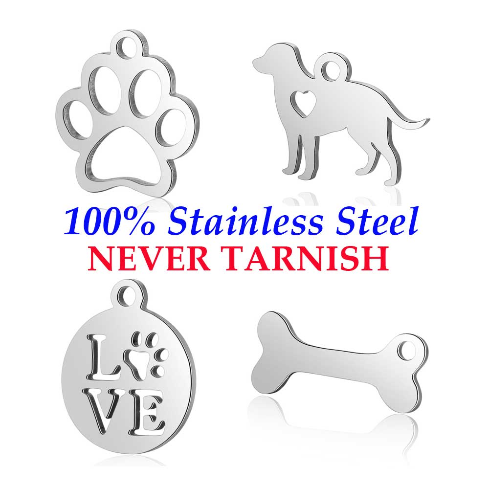 10 Pieces Pet Dog Paw Charm Wholesale 100% Stainless Steel DIY Jewelry Charms DIY Jewelry Finding Pendant