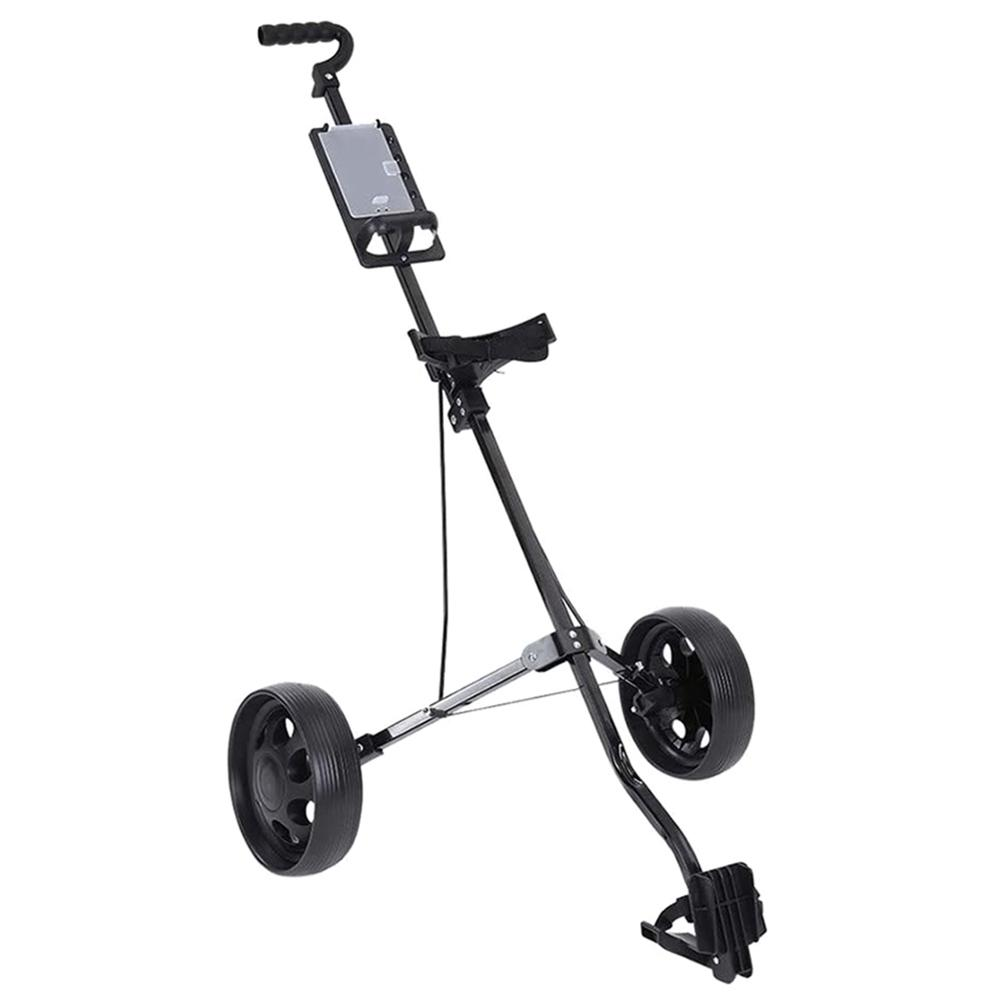 Foldable Golf Cart, Adjustable Height 2 Wheel Push Pull Golf Steel Frame Cart Trolley Swivel MK