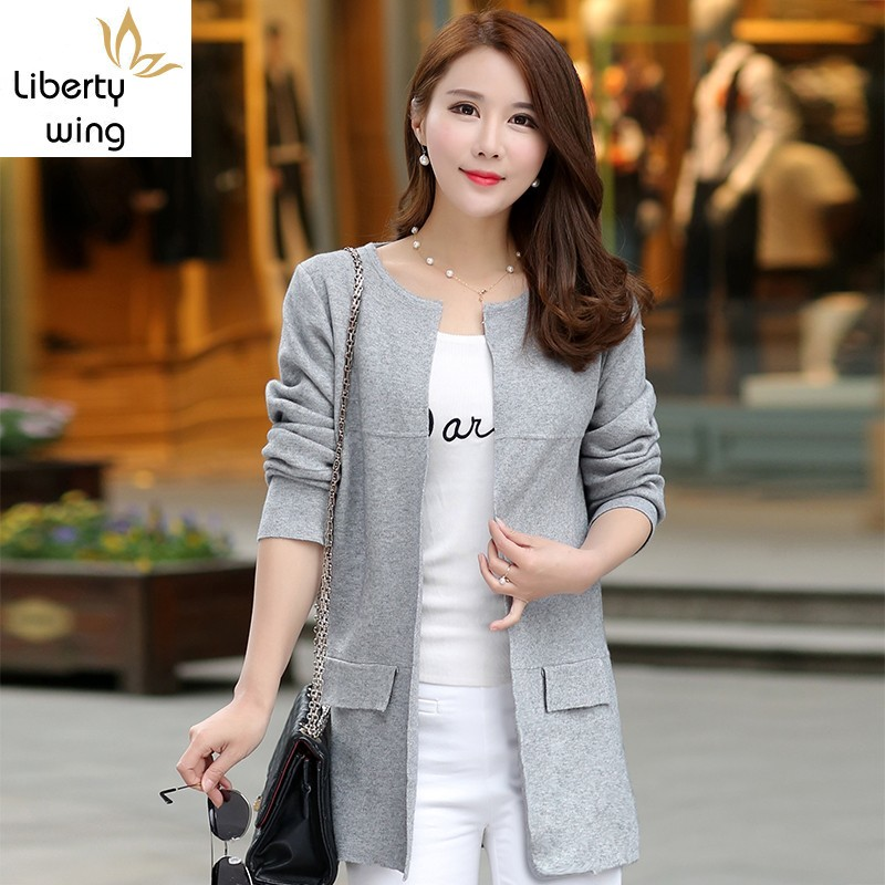 Autumn Winter Fashion New Sleeve Sweaters Womens Red Gray Long Knitted Female Cardigan Women's Trench Size 2XL 3XL