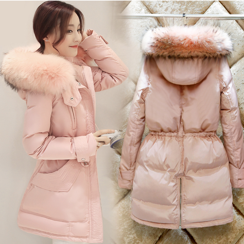 Raccoon Large Fur Down Coat Parka Warm Winter Jacket Women Outwear White 90 Duck Down Slim Waist Plus Size XXXL Woman Coat XC032