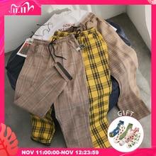 Privathinker – Pantalon décontracté unisexe, vêtement coréen, noir, plaid, streetwear, harem, à carreaux, grande taille, tendance 2020