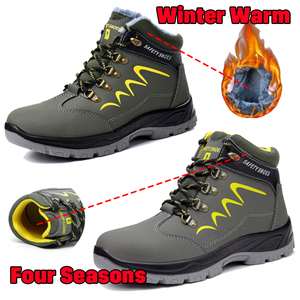 Image 5 - Waterproof Men Safety Shoes Leather Construction Officer Work Boots Steel Toe Bulletproof Anti Smashing Comfortable