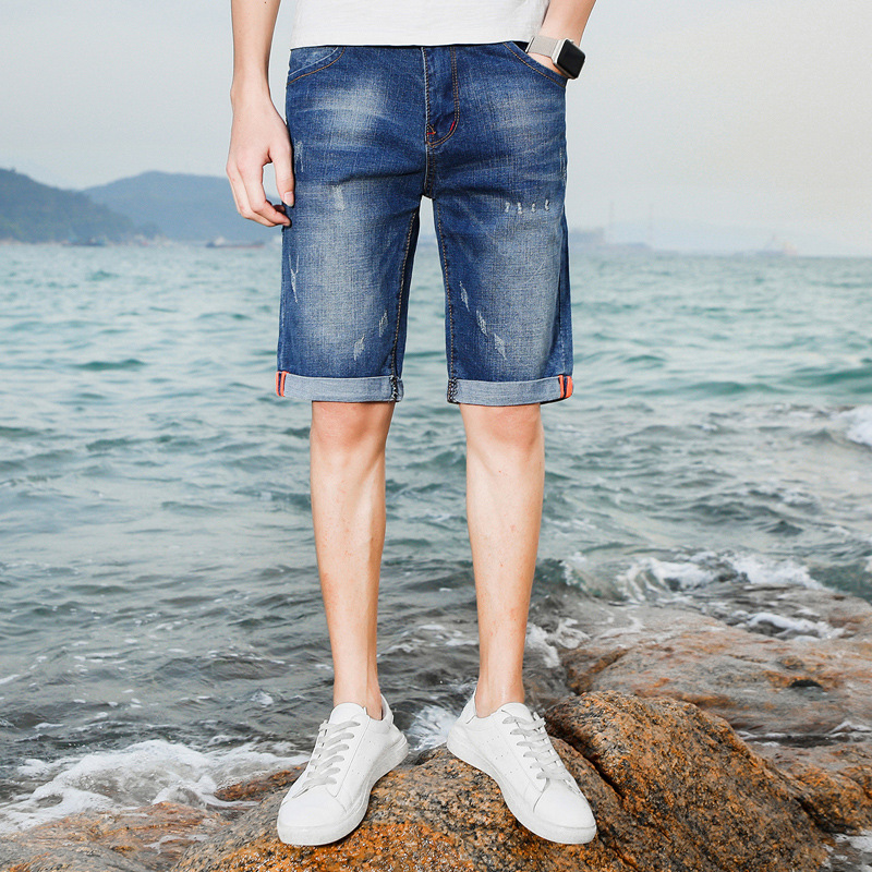 Jeans Men's Summer Thin Section Men's Short Shorts Korean-style Youth Slim Fit Straight-Cut Elasticity Trend Of Fashion In Pants