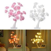 테이블 램프 장미 꽃 테이블 트리 테이블 램프 웨딩 가족 장식 24 따뜻한 화이트 LED 조명 두 가지 모드: USB/배터리 구동