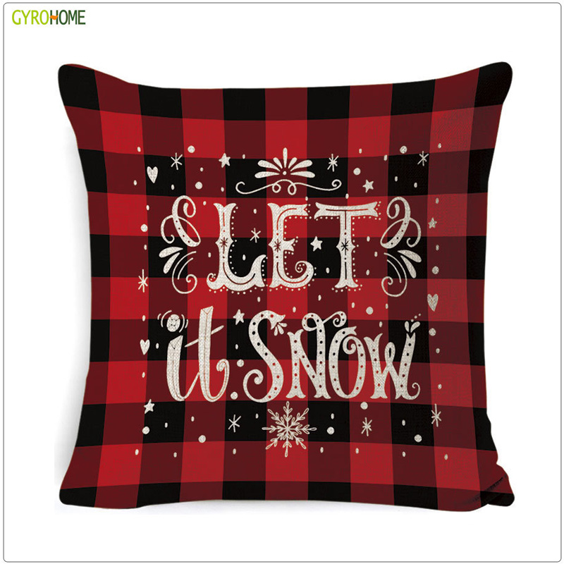 Christmas Festival Elk Sofa Cushion Home Decorative Snow Bell Linen Pillow Customized