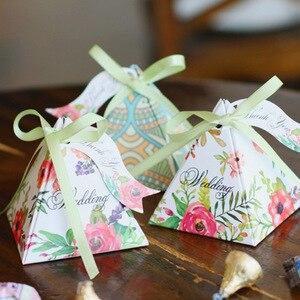 Image 3 - Free shipping 50pcs Creative Candy Box Baby Shower Favors Triangular Pyramid Wedding Favors Gifts Box Bomboniera Party Supplies