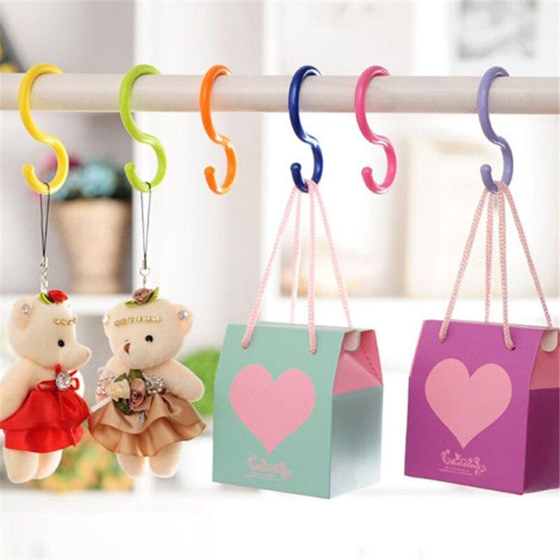 6 Pcs/Lot S Shape Hooks Multi-purpose Hot Selling Baby Stroller Hook Hanger Home Use Clasp Rack Clothing Plastic Hook