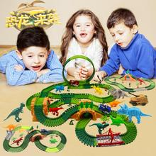 Dinosaur Railway Magical Race Track Playset Bend Flexible Race Flash Light Luminous Glow in the Dark electric Diecast rail Car magic track mini racing car race cars track luminous road slot glow in the dark stunt railroad flexible glowing toys for boys