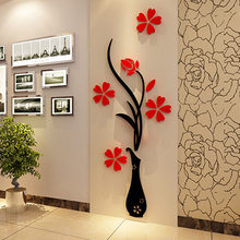Creative vase acrylic 3D stereo wall stickers porch sofa TV background wall decoration mural home office decoration