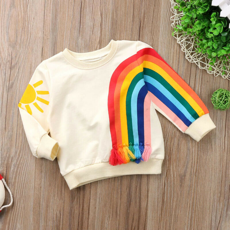 Autumn Toddler Baby Girls Kids Sweatshirts Tops Long Sleeve Rainbow T-Shirt Sweatshirt Clothes Outfit 1-6Y 3