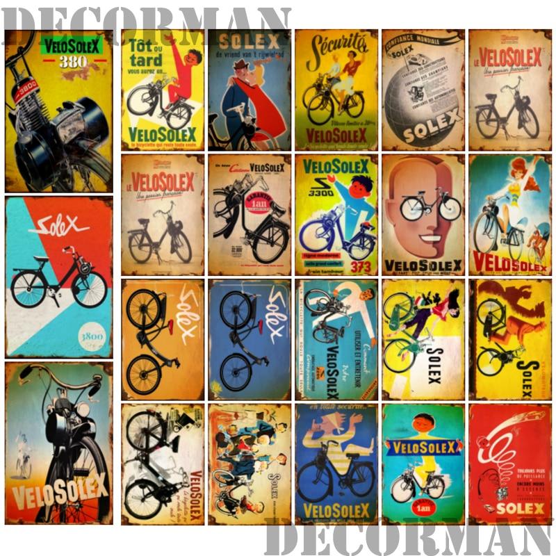 [DecorMan] вело SOLEX Франция велосипед металлический знак пользовательские настенные Poser Железный живопись Бар Паб комнаты бар отеля Декор LTA-2033