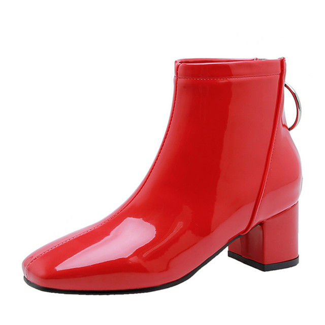 Botines de mujer informales con tacón de bloque, botas cortas impermeables, color rosa, rojo y blanco, talla grande