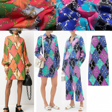 Double Letter Printed Luxury Branded Polyeste Fabricr Designer Shirt  Fashion Cloth Fabrics per meter for Dress Sewing