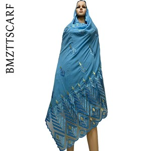 Image 4 - High Quality Chiffon Scarf mulim women embroidery chiffon splice tulle material big size scarf for shawls BM742