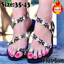 2019 Plus Size Thong Sandals Summer Women Flip Flops Weaving Casual Beach Flat Clover Shoes Rome Style Female Sandal Low Heels(China)
