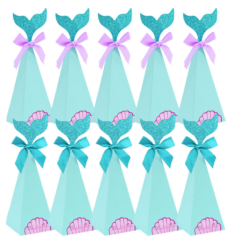 10pcs/lot Mermaid Birthday Party Decorations Favor Box DIY Paper Box Bags Baby Shower Boy Girl Little Mermaid Candy Boxes