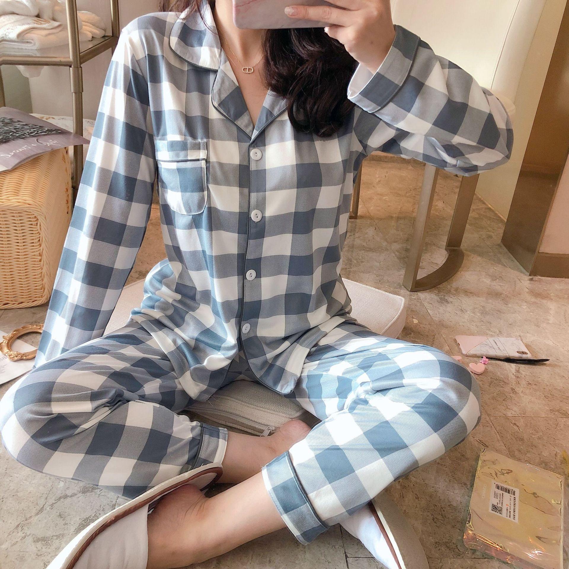 Elegant Fashionable Thick Warm 100% Cotton Women Pajamas Set Winter Loose Cartoon Print Sleepwear for Women Long Woman Pant+ Top 34