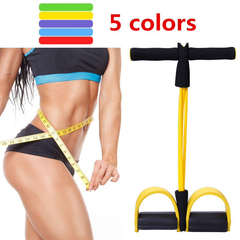<font><b>4</b></font> <font><b>Tube</b></font> Strong <font><b>Fitness</b></font> Resistance Bands Latex Pedal Exerciser Foot Pull <font><b>Ropes</b></font> yoga Sports Pilates <font><b>fitness</b></font> Slimming equipment image