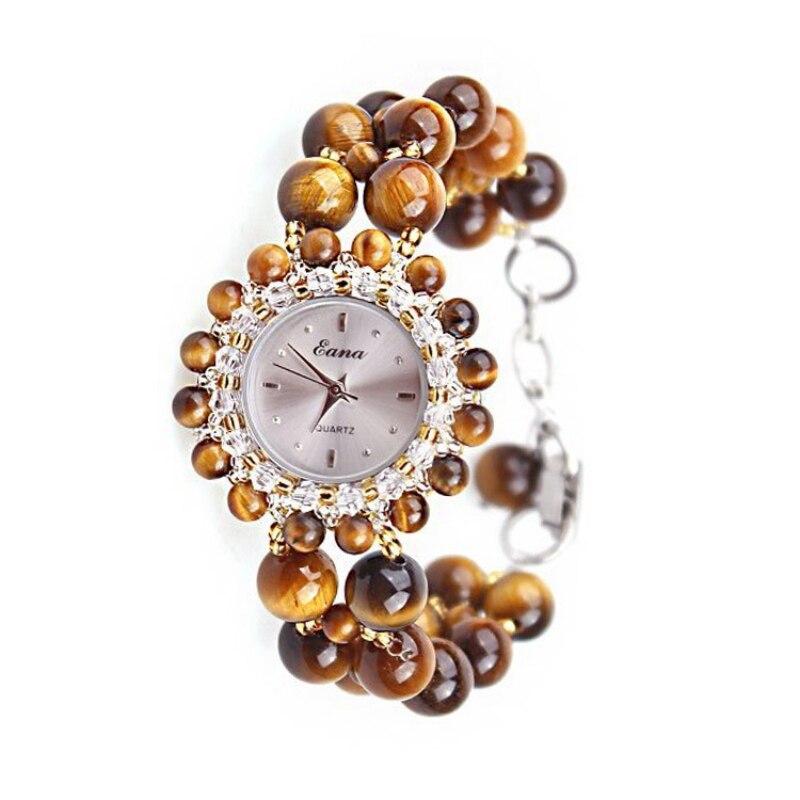 Mode femmes montre à Quartz filles femme Nature oeil de tigre pierre Bracelet bijoux montre-Bracelet étudiants montre-Bracelet cadeaux