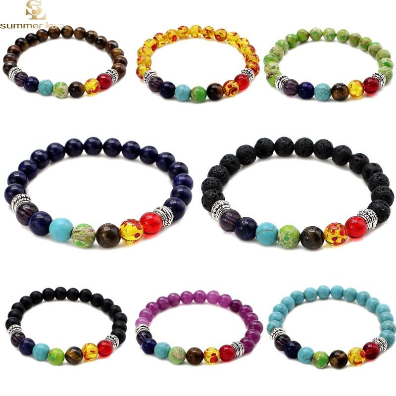 Hamsa Hand Charm 7 Chakren Armbänder Für Frauen 2019 Schwarz Lava Naturstein Perlen Armband Heil Balance Perlen Stein Armband