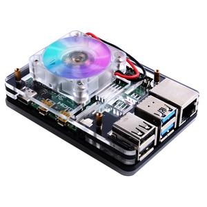 Image 4 - Raspberry Pi 4B / 3B / 3B+ Heat Sinks 52Pi ICE Tower Cooling Fan 40x40x10 V2.0 Black Super Heat Dissipation 7 Colours Light