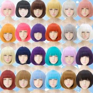 Image 2 - Mumupi sintético 14 polegada reta curto bob perucas franja azul dourado vermelho preto branco roxo rosa verde marrom cos peruca feminino
