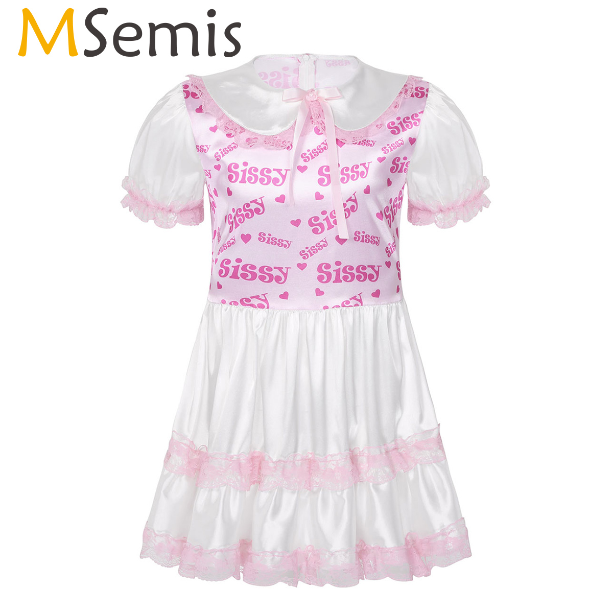 MSemis Men Sissy Dress Shiny Satin Doll Collar Lace Puff Sleeves Sexy Lingerie Sissy Printed Crossdresser Dress Clubwear Costume