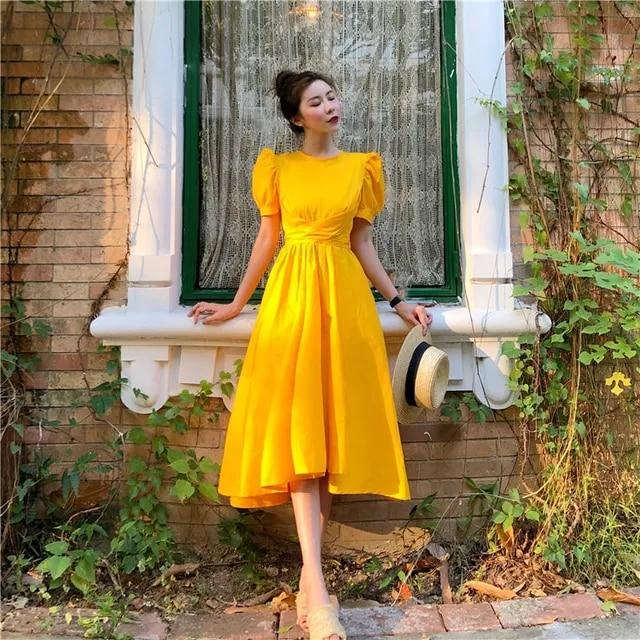 Autumn Woman Elegant Bow Party Midi Dress Vintage Fashion Short Puff Sleeve Mid-Calf Dress Korean Solid Boho High Waist Dress