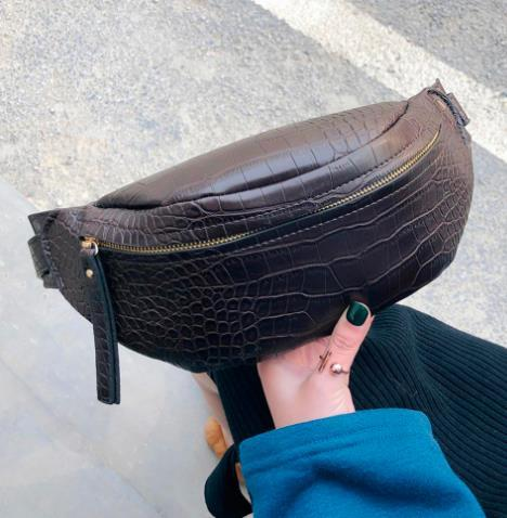 Crocodile Pattern PU Leather Waist Bags