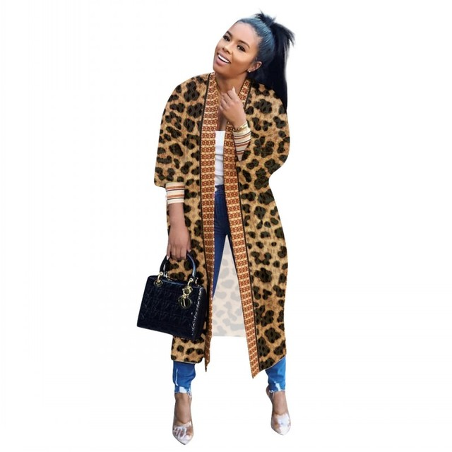 Leopard Printed Long Trench Coats Long Sleeves V Neck  Mid Calf Lady 1