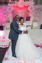 RODDRSYA South African A Line Wedding Dress Simple Lace Appliques Tulle Long Sleeves Bridal Gowns For Black Girls
