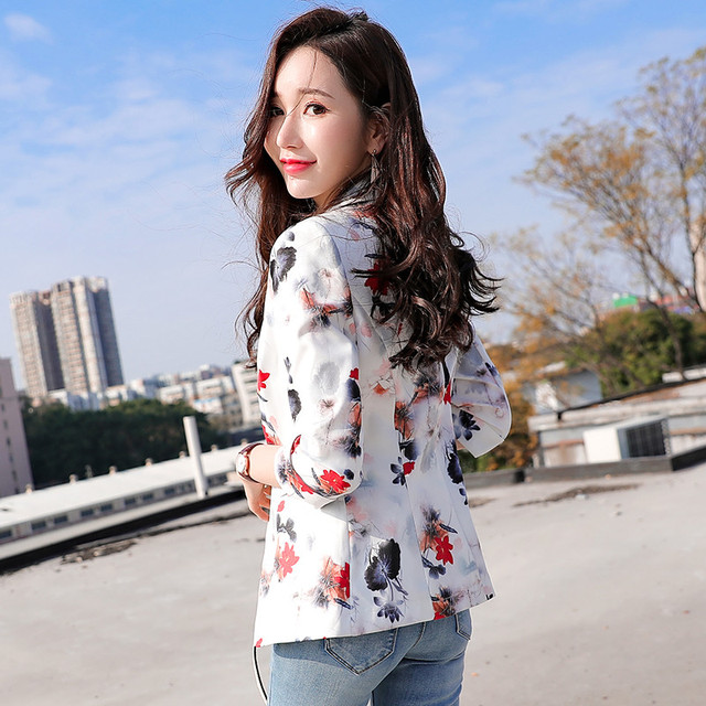 High-quality Blazer Jacket Office Lady Small Suit Business Formal Wear Seven-point Sleeve Short Print Women's Suit Jacket Y88