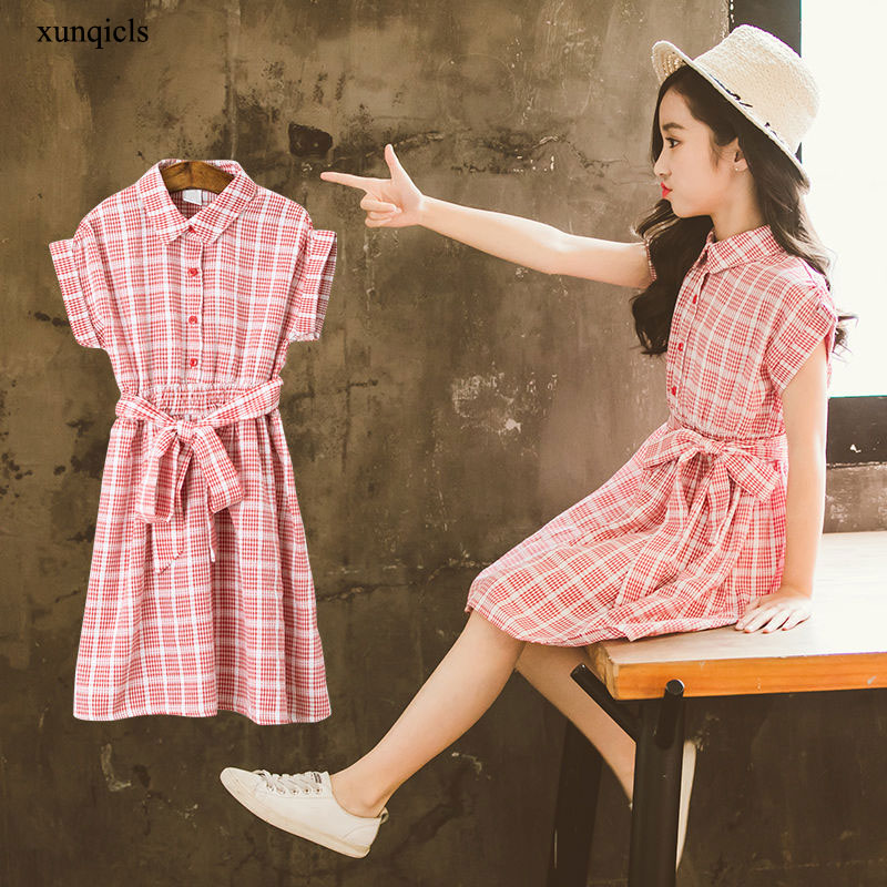 Летние Детские платья для девочек, клетчатое платье, Детская Хлопковая верхняя одежда с коротким рукавом, детское платье принцессы