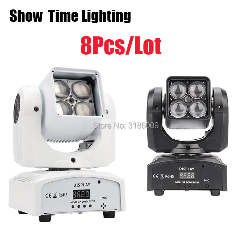 8Pcs/Lot High Bright Mini Dj Led Zoom Beam Moving Head Lite 4pcs 10W RGBW 4 IN 1 Use For KTV DJ Party Disco Night Club Show