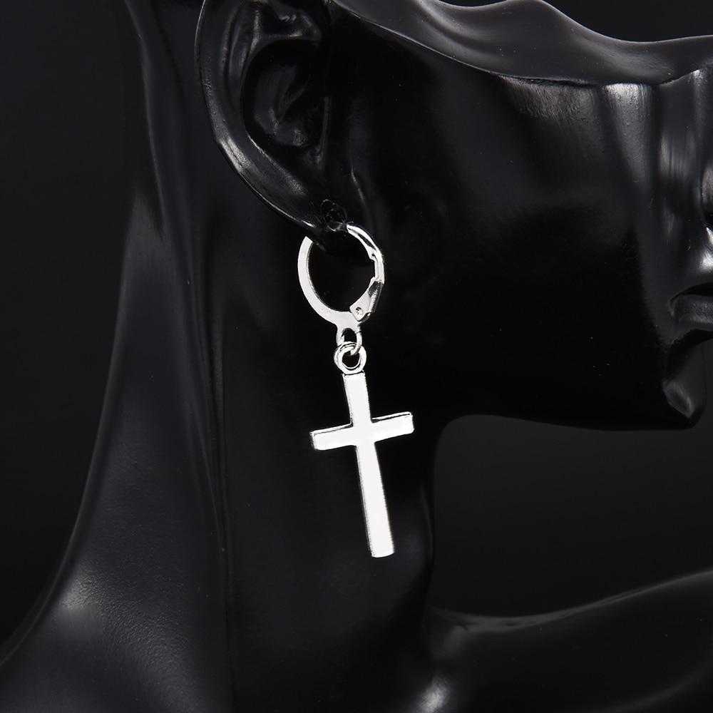 Fashion Men Women Metal Hoop Cross Drop Dangle Ear Studs Earrings Party Punk Earring Jewelry long earrings