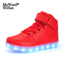 Size 26-41 USB Charged Children Luminous Sneakers Baskets LED Glowing Shoes with Light Up Sole for Kids Boys Girls LED Slippers
