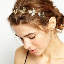 Винтажная Золотая повязка для волос-листья высокого качества золотой обруч для волос аксессуары для женщин модный головной убор с орнаментом