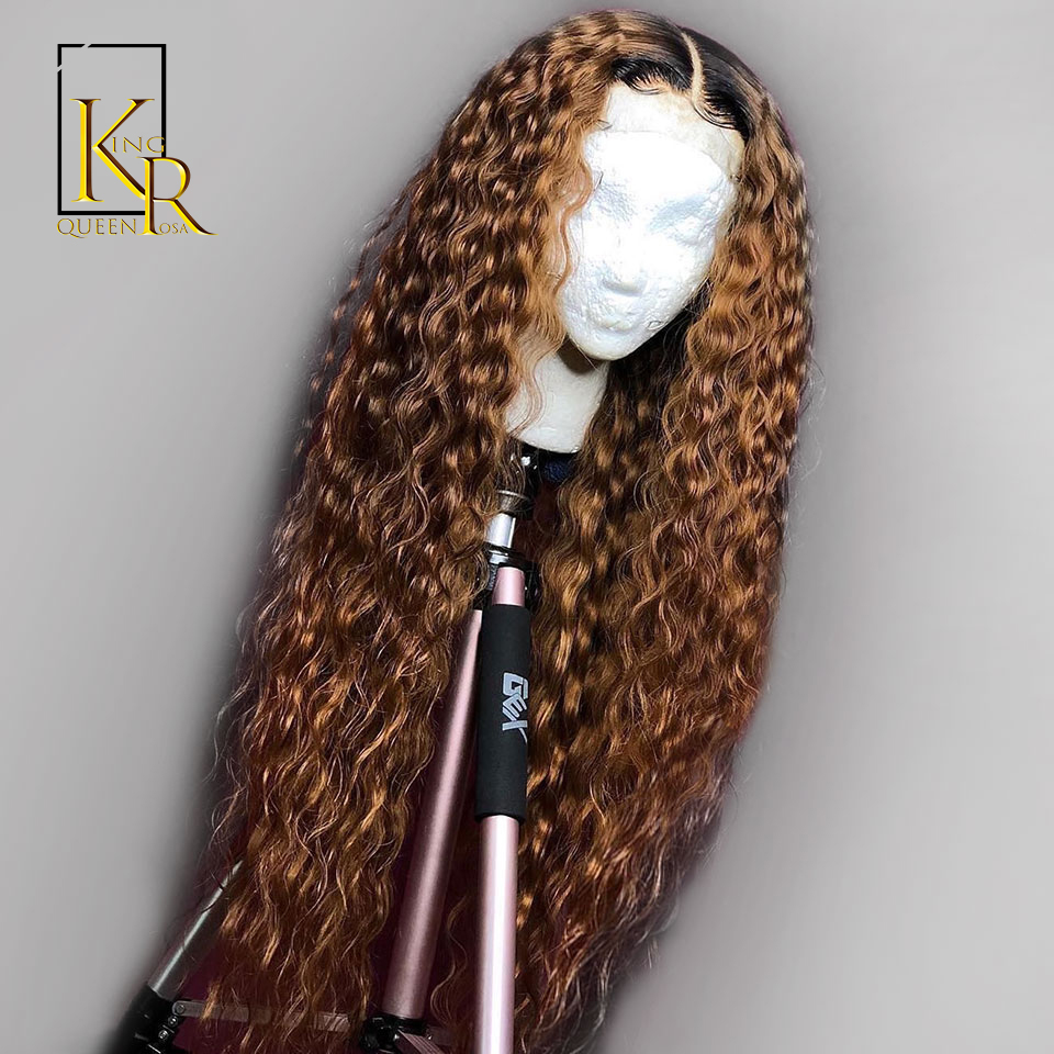Curly Ombre Lace Front Human Hair Wigs For Black Women 130% Density 1B/27 Remy Brazilian Pre Plucked Low Ratio Bleached