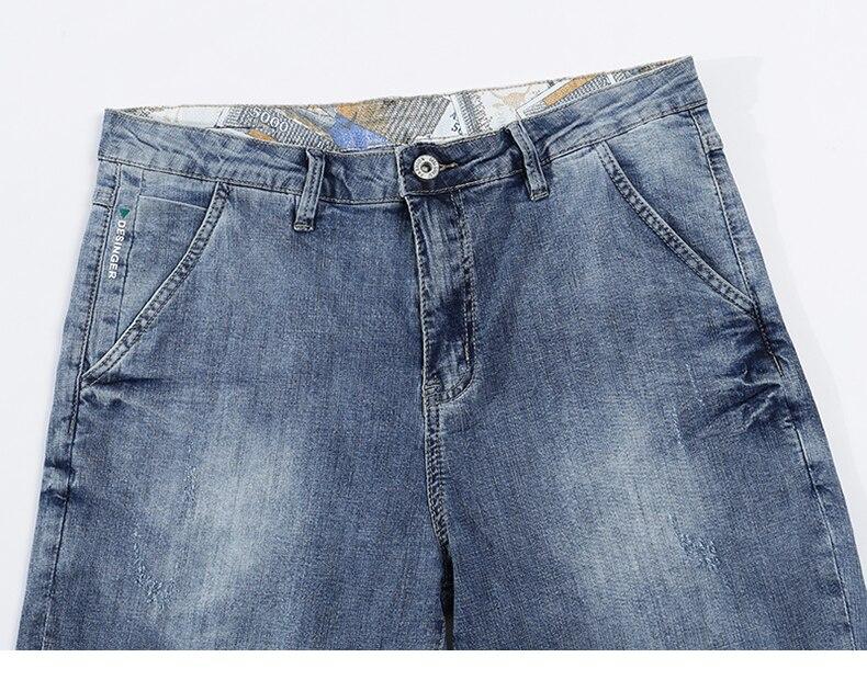 KSTUN Mens Light Blue Jeans Shorts Slim Fit Jeans Men Stretch Summer Denim Short Pants Fashion Leisure Male Jeans Quality Brand 13