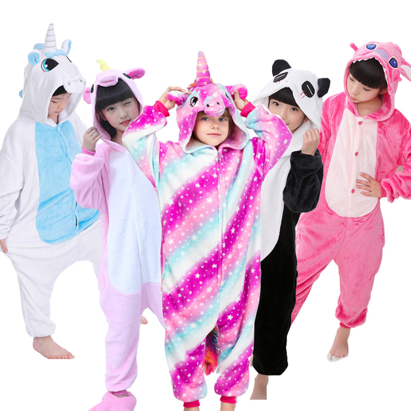 Kids Pajamas Onesies Animal Unicorn Stitch Pegasus Pajamas For Boys Girls Flannel Hooded Children Sleepwear Cosplay Homewear