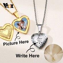 Vnox-Collar personalizado con imagen de nombre para mujer, pendiente de relicario de corazón, imagen familiar, regalo de aniversario personalizado