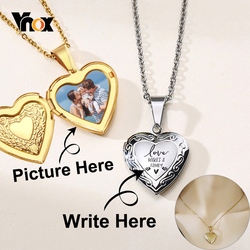 Vnox Customize Picture Name Women Necklaces Heart Locket Pendant Family Image Personalized Anniversary Gift