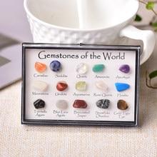 1 conjunto de pedra de cristal natural 15 em 1 rocha mineral espécimes ensino jaspery presente caixa cura pedra presentes para crianças
