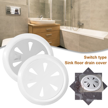 Home Floor Drain Cover Plastic Hair Catcher Floor Drain Strainer with Switch Odor Proof for Floor Drain Kitchen Bathroom Sink